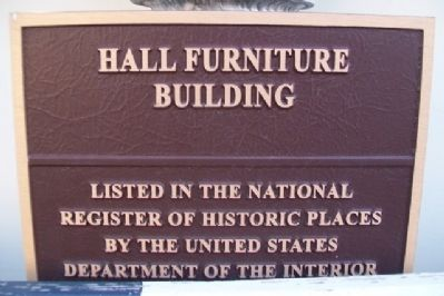 Hall Furniture Building NRHP Marker image. Click for full size.