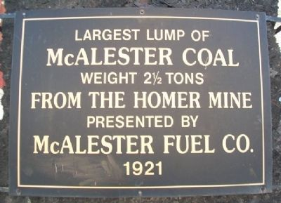 Largest Lump of McAlester Coal Marker image. Click for full size.