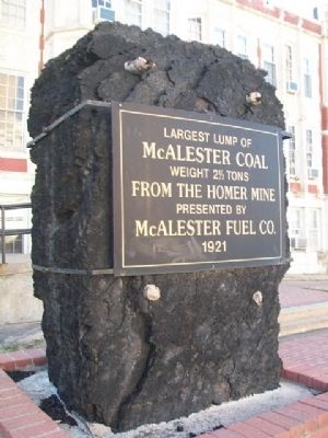 Largest Lump of McAlester Coal & Marker image. Click for full size.