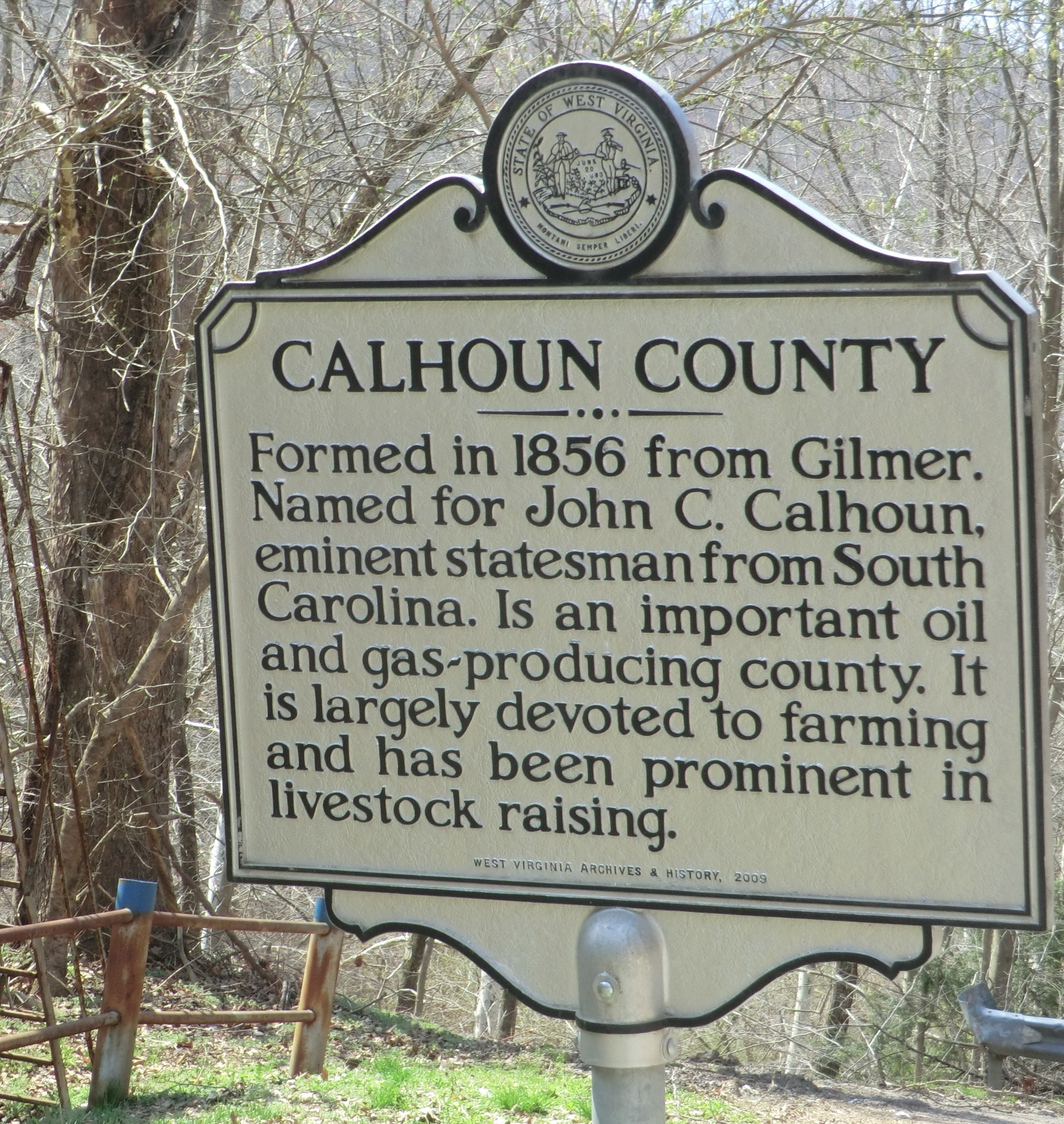Calhoun County side of the marker