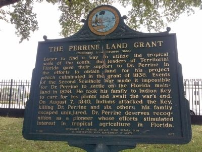 The Perrine Land Grant Marker image. Click for full size.