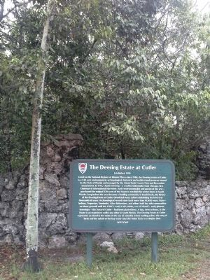 Marker at the Front Gate to the Deering Estate image. Click for full size.