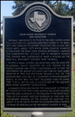 Bear Creek Methodist Church and Cemetery Marker image. Click for full size.