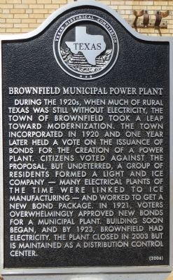 Brownfield Municipal Power Plant Marker image. Click for full size.