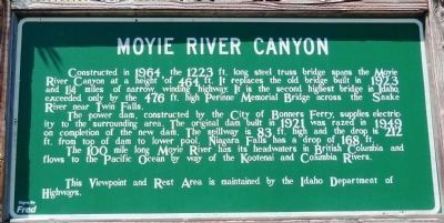 Moyie River Canyon Marker (<i>front side</i>) image. Click for full size.