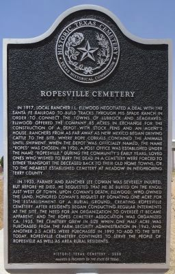 Ropesville Cemetery Marker image. Click for full size.