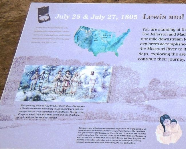 Lewis and Clark reach the Headwaters Marker (<i>left detail view</i>) image. Click for full size.