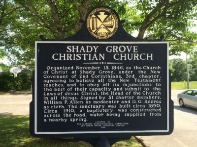 Shady Grove Christian Church Marker image. Click for full size.