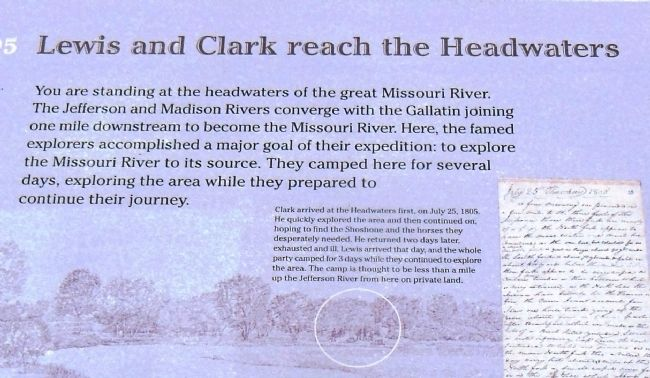Lewis and Clark reach the Headwaters Marker (<i>center detail view</i>) image. Click for full size.