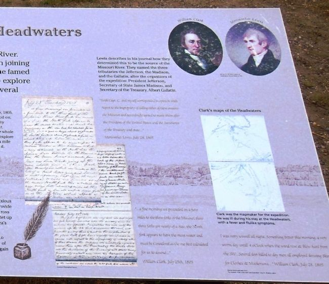 Lewis and Clark reach the Headwaters Marker (<i>right detail view</i>) image. Click for full size.