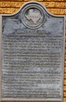 Lubbock High School Marker image. Click for full size.
