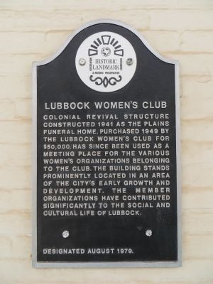 Lubbock Women's Club Marker image. Click for full size.
