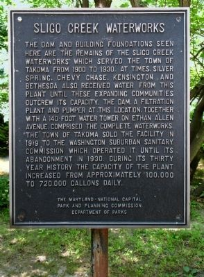 Sligo Creek Waterworks Marker image. Click for full size.