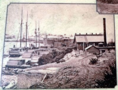 Lumber Schooner O.R. Johnson at Singapore<br>ca 1869 image. Click for full size.