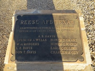 Dedication plaque at Reese AFB image. Click for full size.