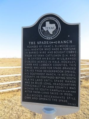The Spade Ranch Marker image. Click for full size.