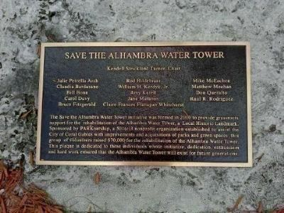Save the Alhambra Water Tower Marker image. Click for full size.