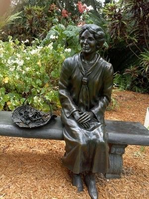 Althea Merrick statue in garden image. Click for full size.