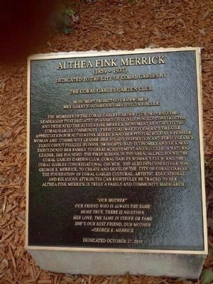 Althea Fink Merrick Monument Plaque image. Click for full size.