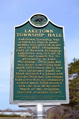 Laketown Township Hall Marker image. Click for full size.