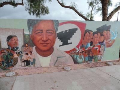 César Chávez Memorial Mural - south end text, upper right: image. Click for full size.
