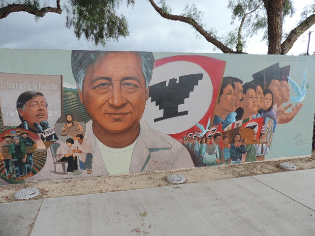 César Chávez Memorial Mural - south end text, upper right: