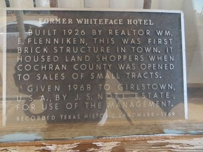 Former Whiteface Motel Marker image. Click for full size.