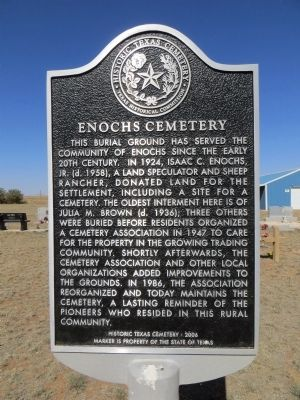 Enochs Cemetery Marker image. Click for full size.