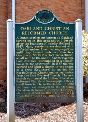 Oakland Christian Reformed Church Marker image. Click for full size.