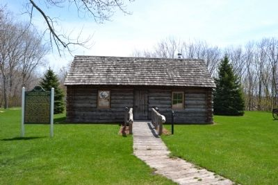 Replica of 1849 Log Church image. Click for full size.