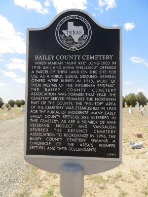 Bailey County Cemetery Marker image. Click for full size.
