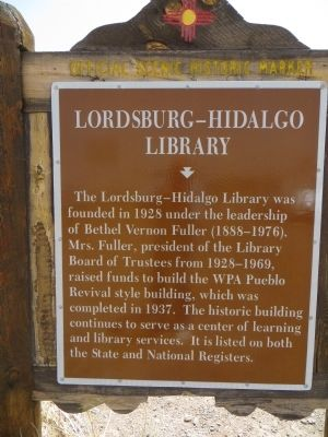 Lordsburg-Hidalgo Library Marker image. Click for full size.