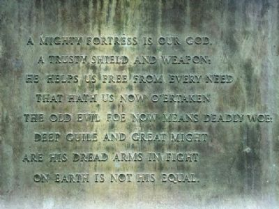 Inscription on Martin Luther Monument image. Click for full size.