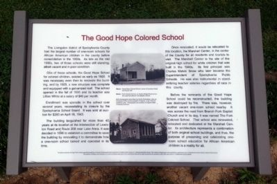 The Good Hope Colored School Marker image. Click for full size.