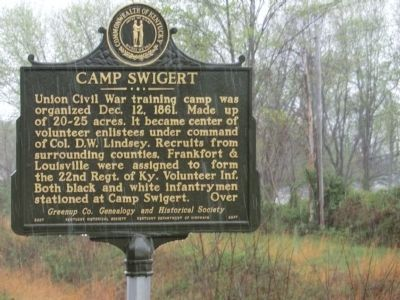 Camp Swigert Marker-Side 1 image. Click for full size.