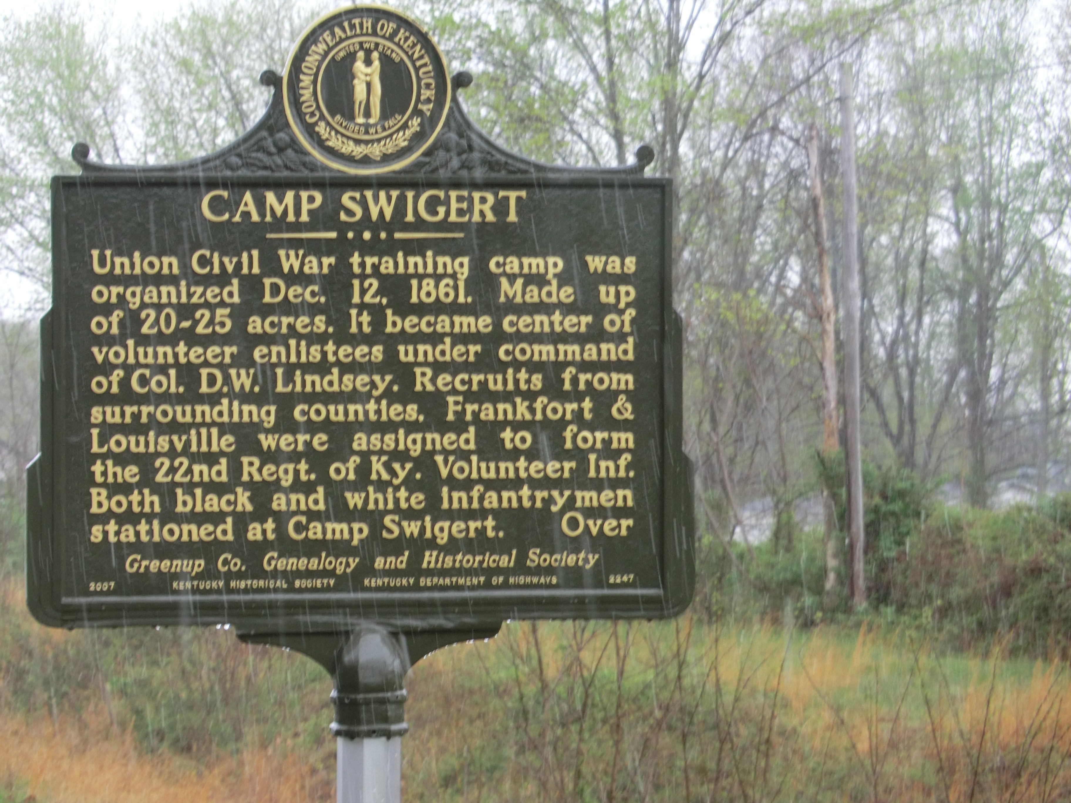 Camp Swigert Marker-Side 1