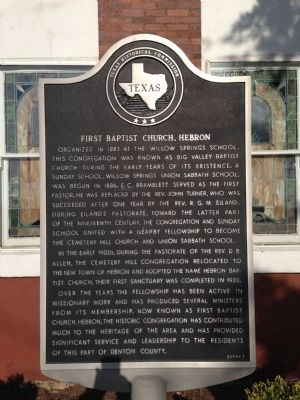 First Baptist Church, Hebron Texas Historical Marker image. Click for full size.
