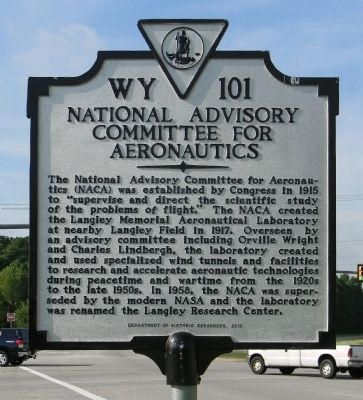 National Advisory Committee for Aeronautics Marker image. Click for full size.