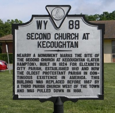 Second Church at Kecoughtan Marker image. Click for full size.