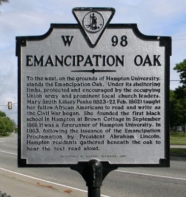 Emancipation Oak Marker image. Click for full size.