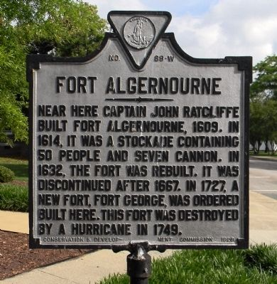 Fort Algernourne Marker image. Click for full size.