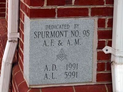 Dedicated by<br>Spurmont No. 98<br>A.F. & A.M.<br>A.D. 1991<br>A.L. 5991 image. Click for full size.