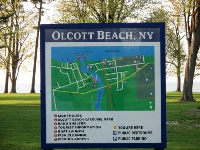 Olcott Beach Tourist Map Sign image. Click for full size.
