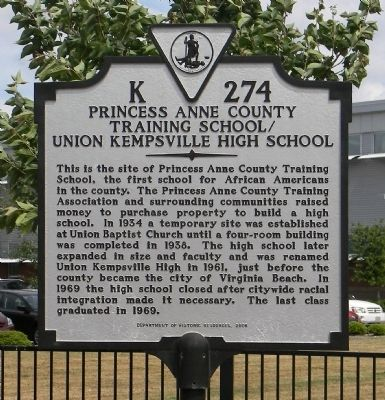 Princess Anne County Training School/Union Kempsville High School Marker image. Click for full size.