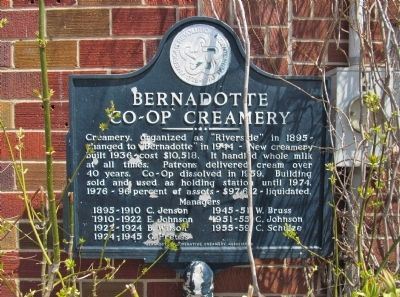 Bernadotte Co-op Creamery Marker image. Click for full size.