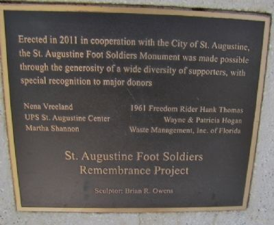 The St. Augustine Foot Soldiers Monument Marker reverse image. Click for full size.