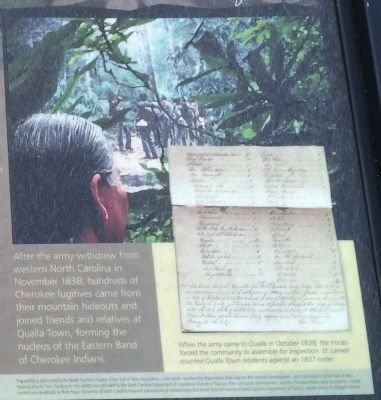 Trail of Tears - Qualla Town Marker (Right Side) image. Click for full size.