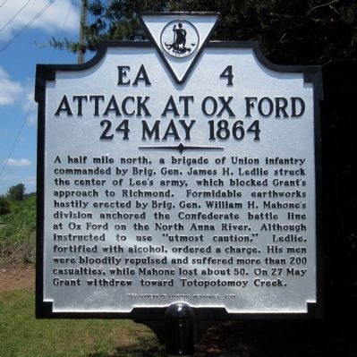Attack at Ox Ford Marker image. Click for full size.