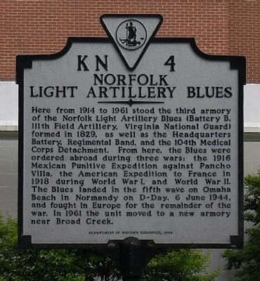 Norfolk Light Artillery Blues Marker image. Click for full size.