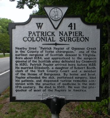 Patrick Napier, Colonial Surgeon Marker image. Click for full size.